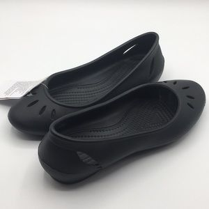 Crocs Black Kelli Slip On Ballet Flat Shoe Size 7